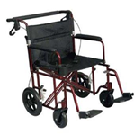 "22"" TRANSPORT CHAIR WITH 12 INCH REAR WHEELS - The Lightweight Transport Chair 22 inch has a lightweight alumin"